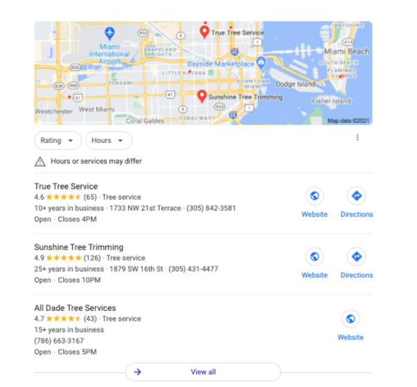 """A SERP for """"tree trimming Miami."""""""
