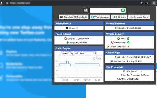 A screenshot of the Webrank SEO toolbar for Google Chrome.