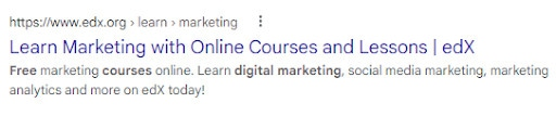 A search engine listing with a call-to-action in the results.