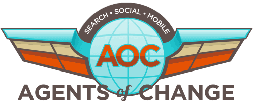 Logo for the Agents of Change SEO podcast.