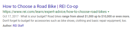 An example of a search listing in Bing search results.