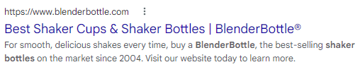 An example of a title tag from Blender Bottle shown in a SERP listing.