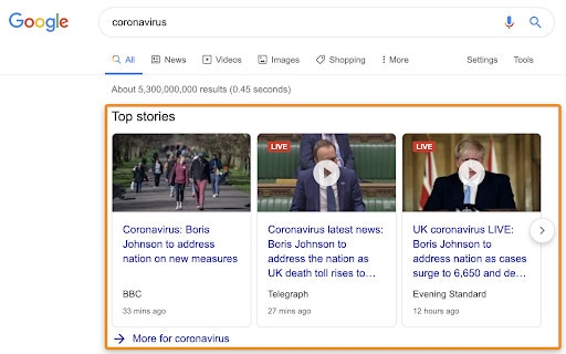 Top stories results on a SERP.