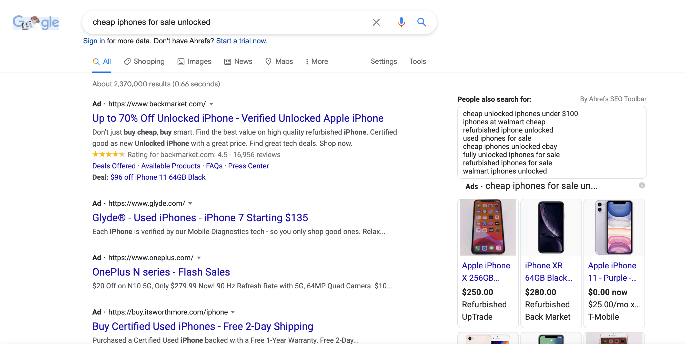 """A SERP for the term """"cheap iphones for sale."""""""