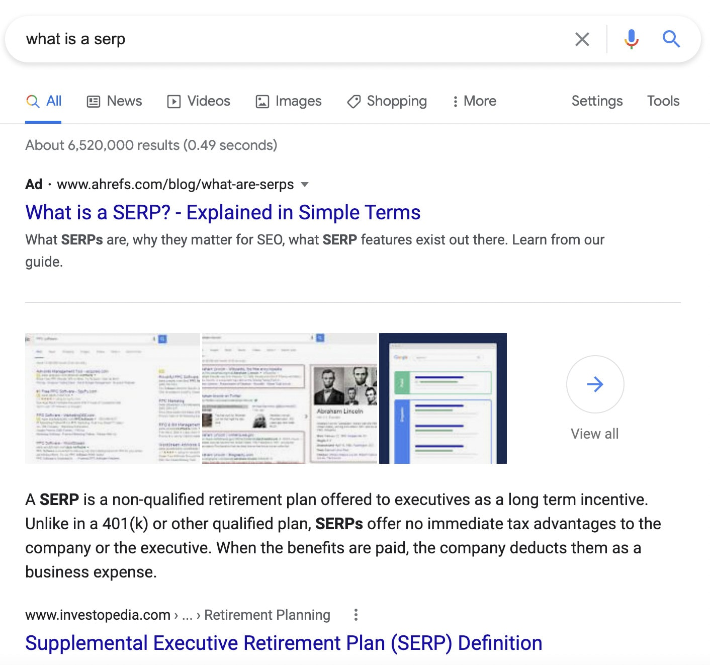 """A featured snippet on the SERP for """"what is a SERP?"""""""