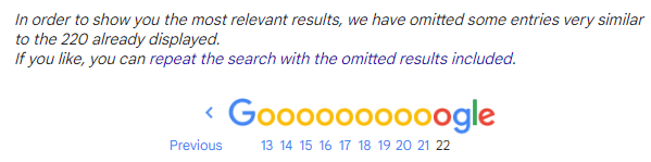 Google cuts off search results to keep searches unique.