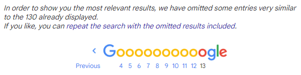 An example of how Google omits results on SERPs.