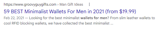 An example of a title tag shown in a SERP from Groovy Guy Gifts.