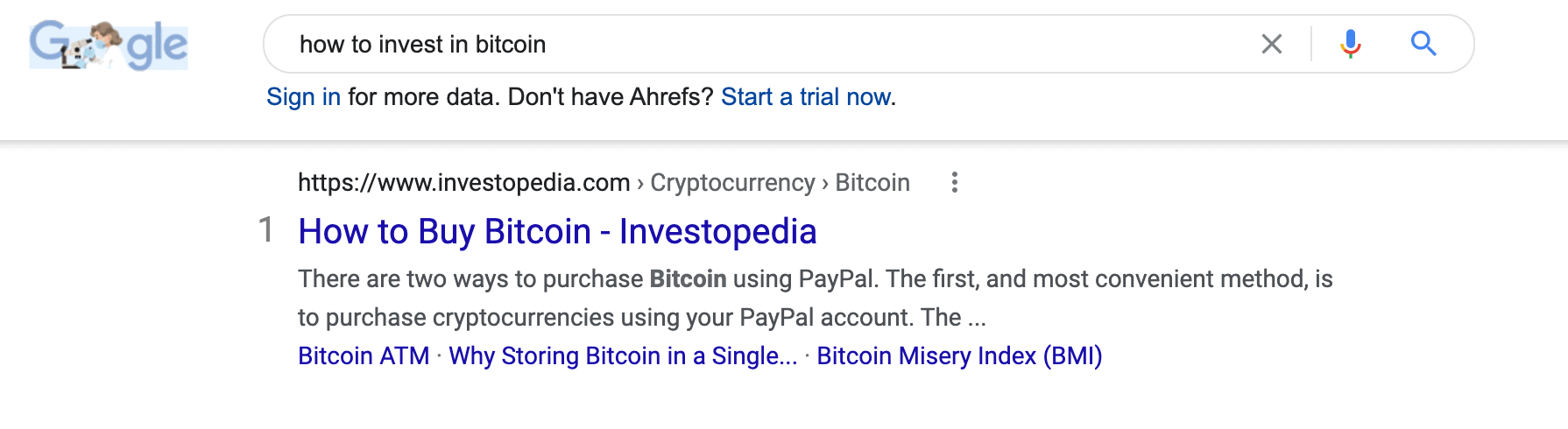 """A SERP for the term """"how to invest in bitcoin."""""""
