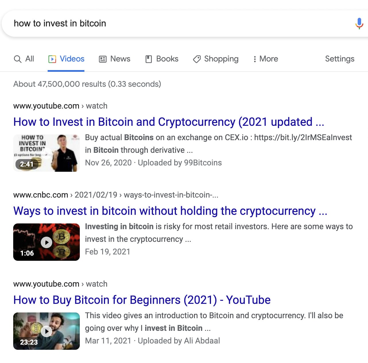 """Video results on a SERP for """"how to invest in bitcoin."""""""