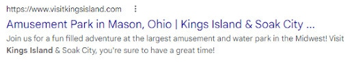 An example of a meta description on a SERP from Kings Island.