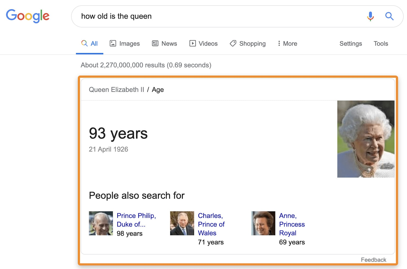 """A knowledge card example for the query """"how old is the queen?"""""""