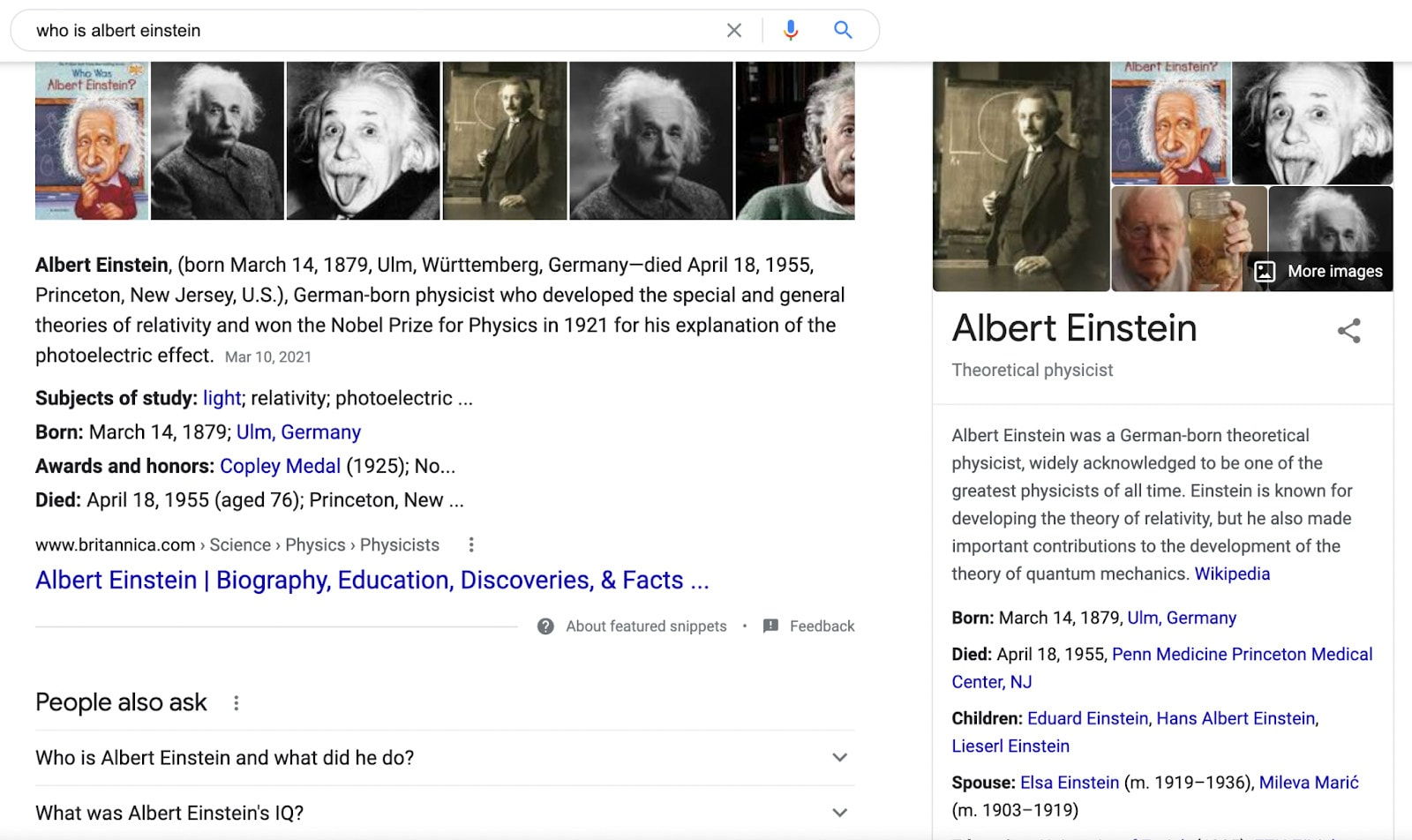 """A knowledge graph example on a SERP for the query """"Albert Einstein."""""""