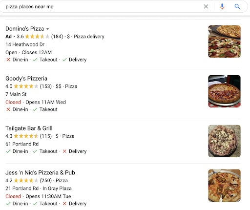"""Local snack pack search results for the search term """"pizza places near me."""""""