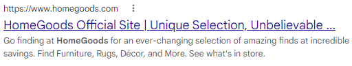 An example of a meta description from Home Goods.