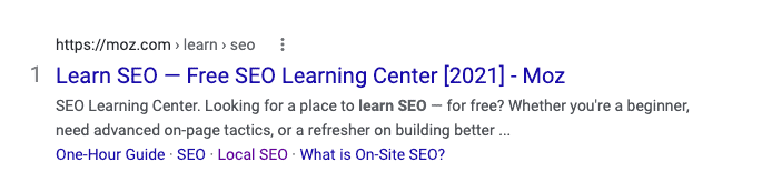"""An example of good meta title creation for the term """"Learn SEO."""""""