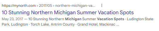 An example of a title tag from MYNORTH shown in a SERP listing.