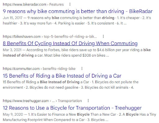 """A SERP for """"why to bike instead of drive"""" that shows numbers used in the title tag."""