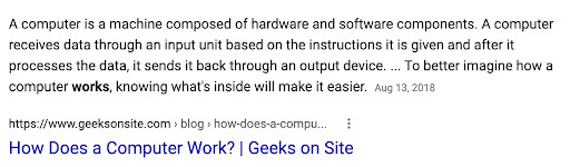 """A rich snippet showing an excerpt from the article """"How does a computer work?"""""""