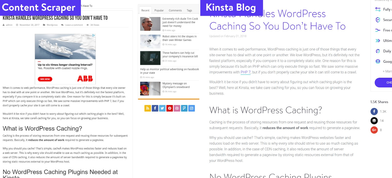 An example of what scraped content looks like on two separate websites.