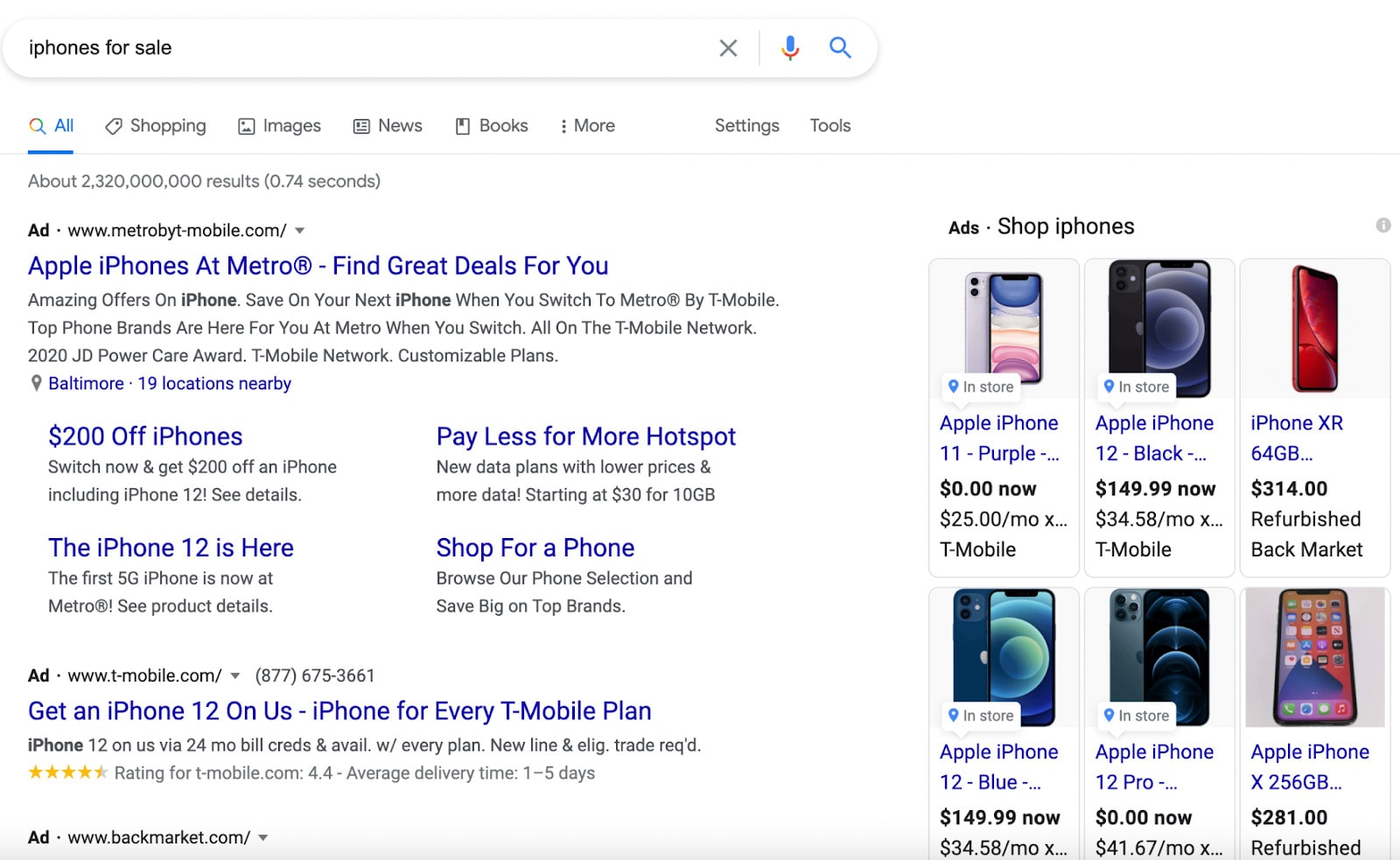 """Search ads on the SERP for the query """"iphones for sale."""""""