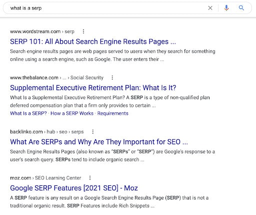 """A SERP for the search term """"what is a SERP?"""""""