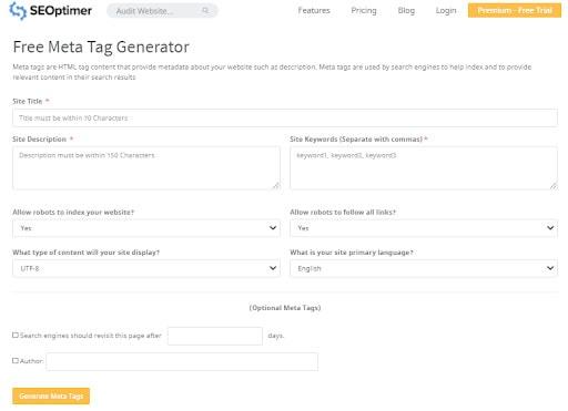 A screenshot of the SEOptimer tool for creating meta descriptions.