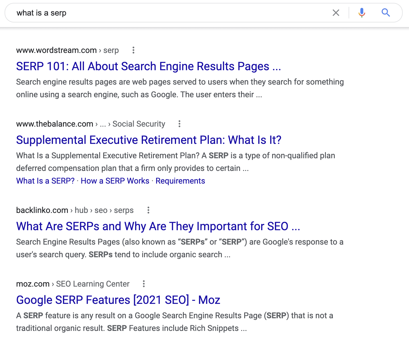 """A search engine results page for the search term """"what is a SERP?"""""""