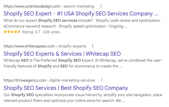 "A Google search results page for ""Shopify SEO expert."""