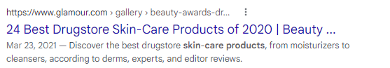 An example of showing freshness in a title tag in a SERP listing.