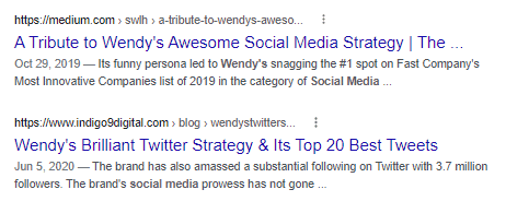 Search results for social media accounts.
