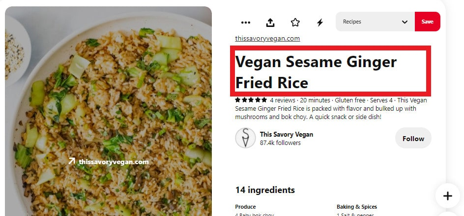 An example of a title tag from This Savory Vegan.