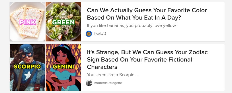 An example of how Buzzfeed articles invoke curiosity, which you can use in your title tag to increase clicks.