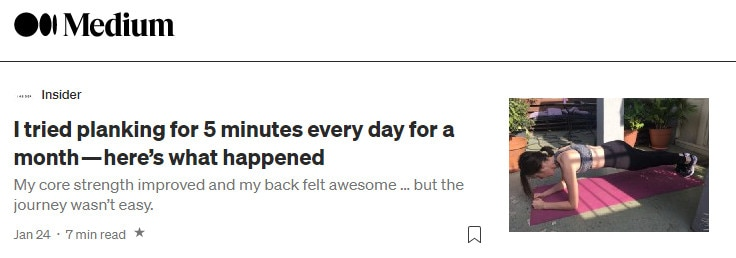 A first-person headline example from Medium, which can be used to create alluring title tags.