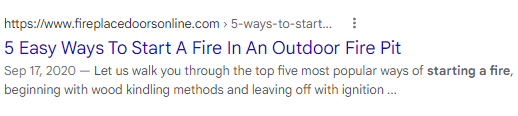 """Example of a truncated meta description for the result """"5 easy ways to start a fire in an outdoor fire pit."""""""