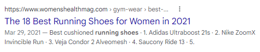 A SERP listing that uses numbers in the title tag.