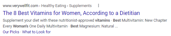 A title tag from Very Well Fit shown in a SERP listing.
