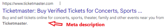 A meta description example on a search engine results page from Ticketmaster.