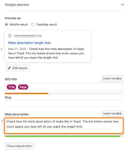 Using the Yoast SEO plugin to preview meta description for mobile SEO.