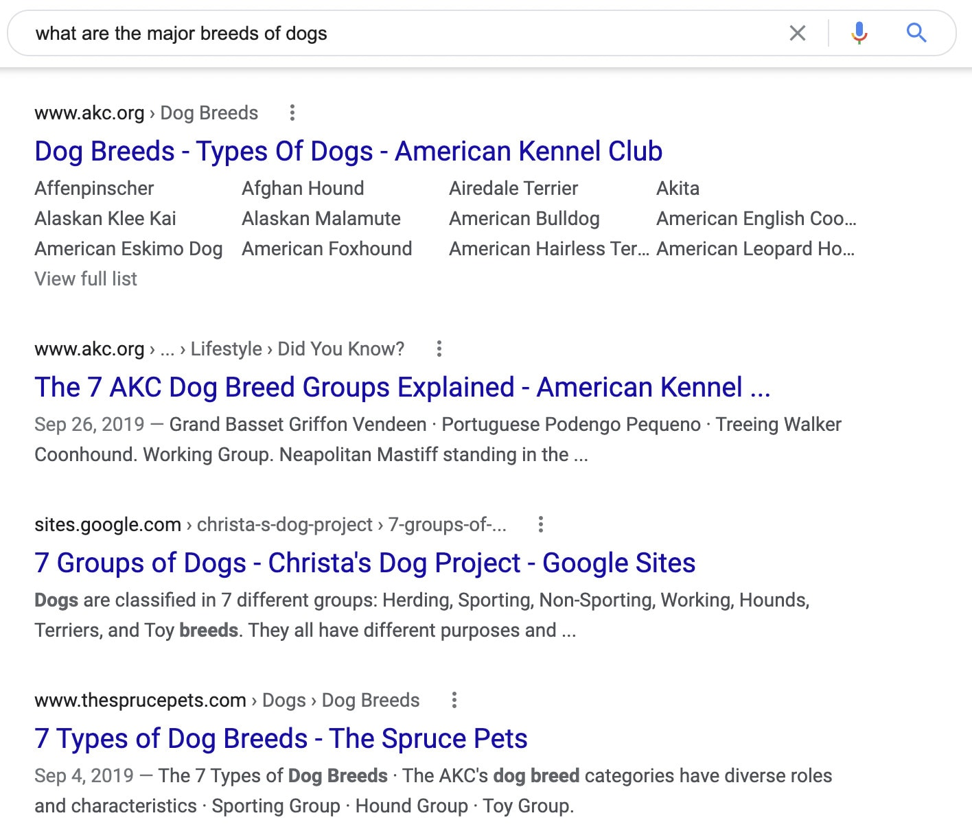 """A SERP that shows results for """"what are the major breeds of dog?"""""""
