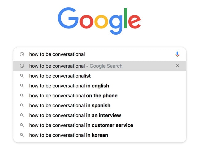 A Google search bar showing a search for conversational keywords.