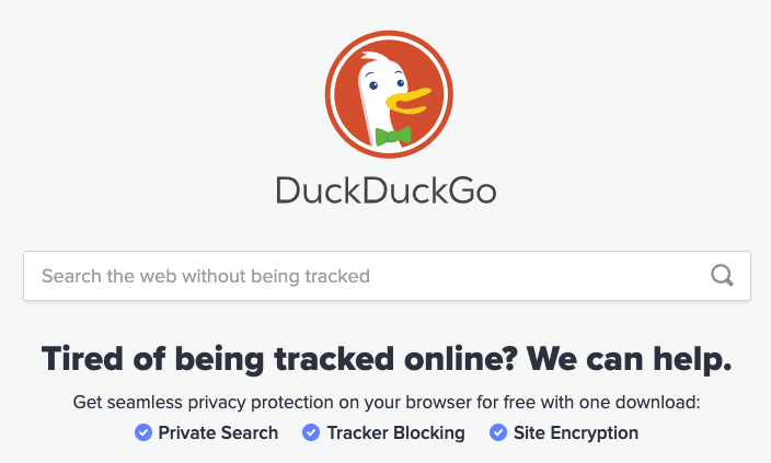 A screenshot of the alternative search engine DuckDuckGo.