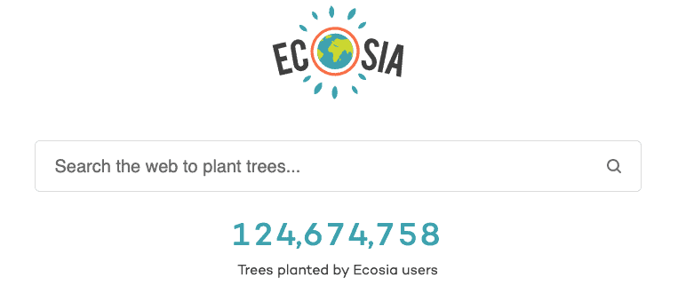 A screenshot of the alternative search engine Ecosia.