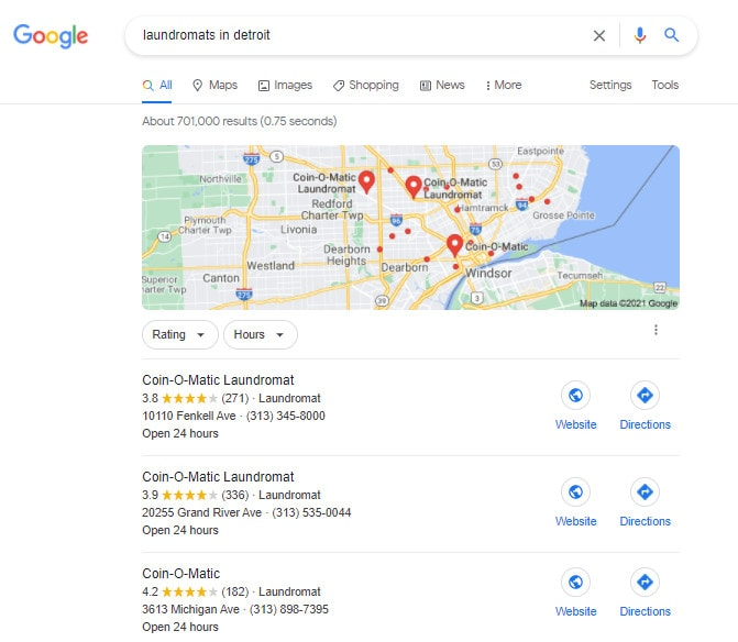 A search results page showing the local snack pack results for local long-tail keywords.