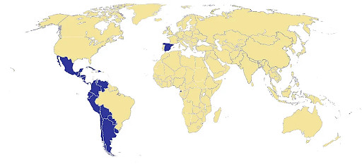 A map showing Spanish-speaking countries that you would want to target with language targeting.