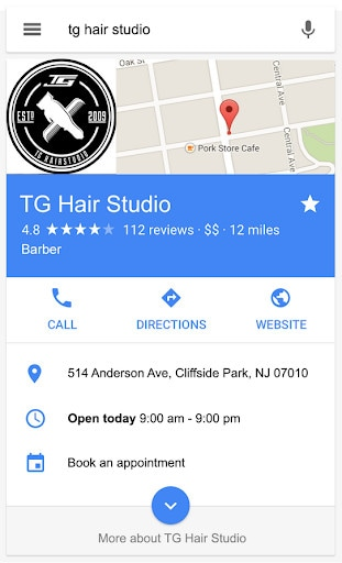 A rich result for a local business showing address, hours, directions, and more.
