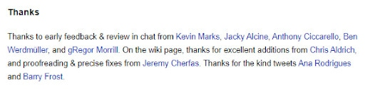 An image showing how one website uses microformats to give credit to his collaborators, with a link to their website.