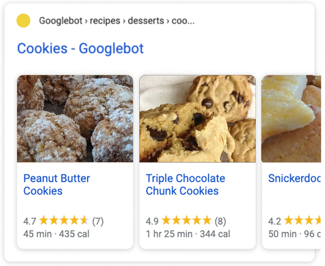 A rich snippet showing images and ratings for a cookie recipe.