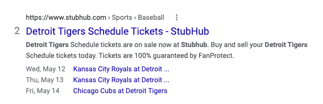 A rich result made with structured data that shows the schedule of the Detroit Tigers baseball team.