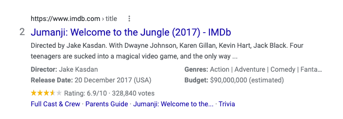A rich snippet search result for Jumanji complete with a movie rating.